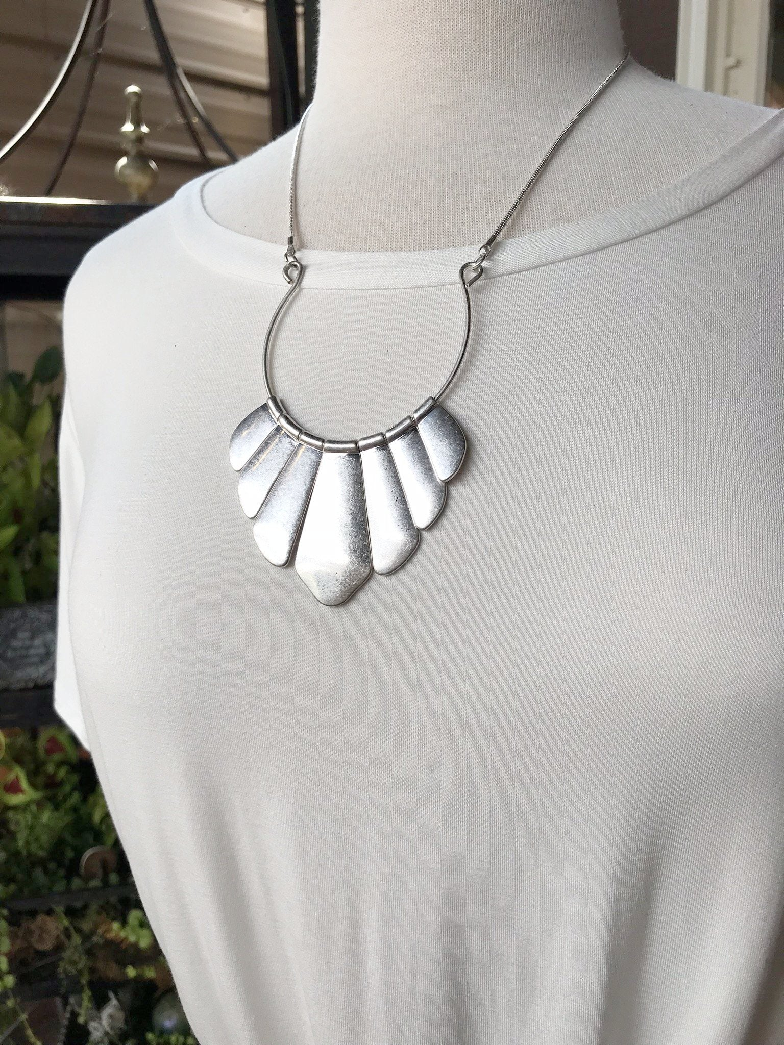 Charlotte Silver Fan Shaped Statement Necklace