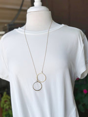 Isabella long gold double circle necklace