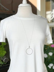Kinsley Long Silver Necklace with Circle Pendant