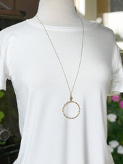 Kinsley Long Gold Necklace with Circle Pendant