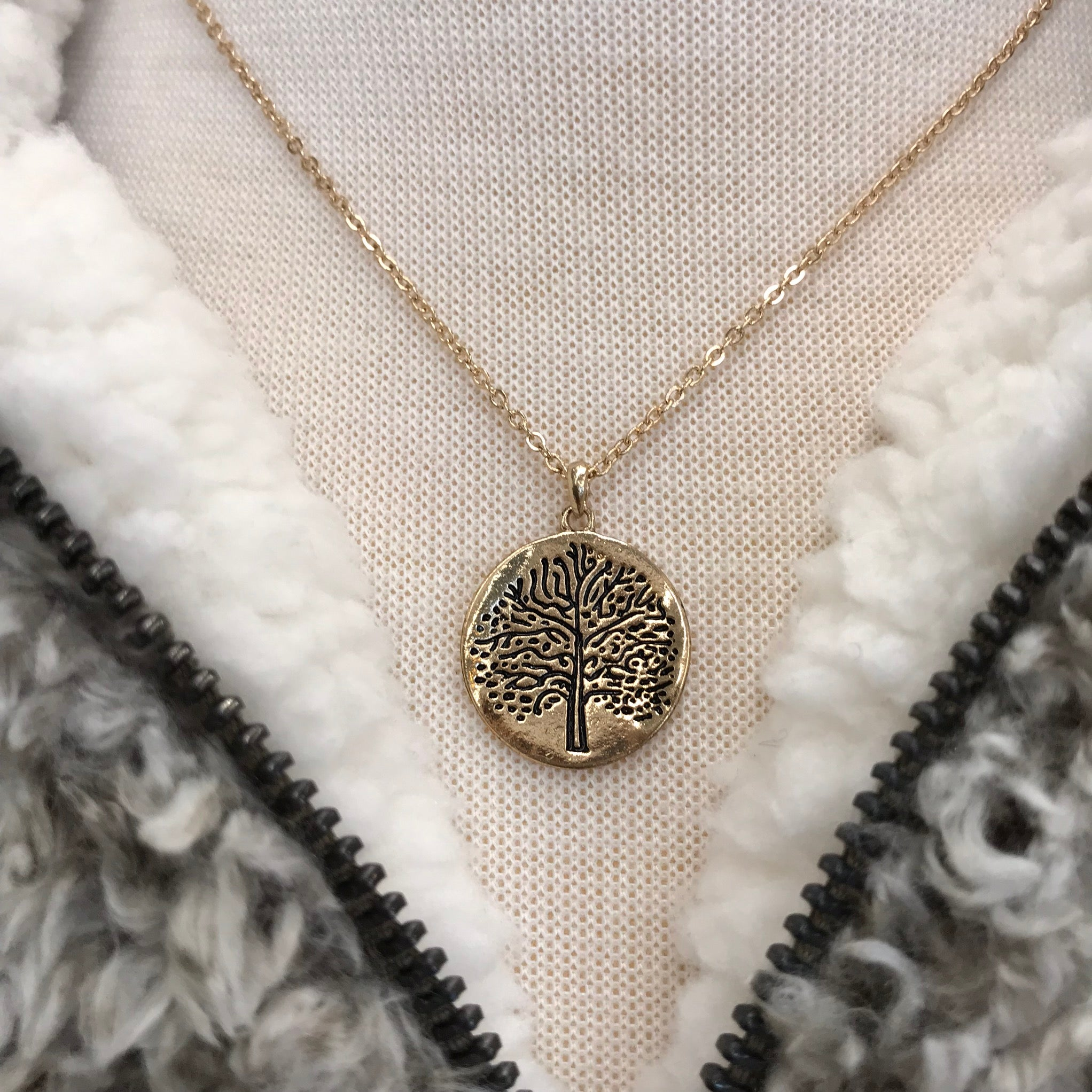 Gold Tree of Life Round Pendant Necklace