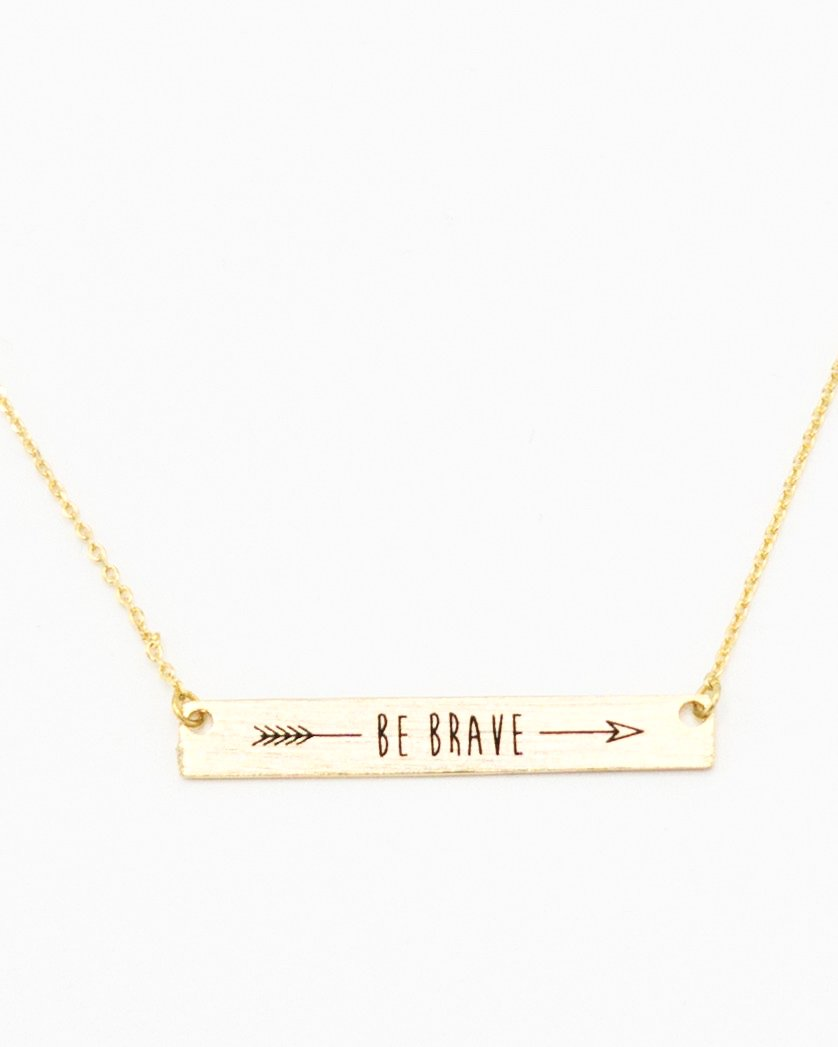 Be Brave Inspirational Bar Necklace in gold