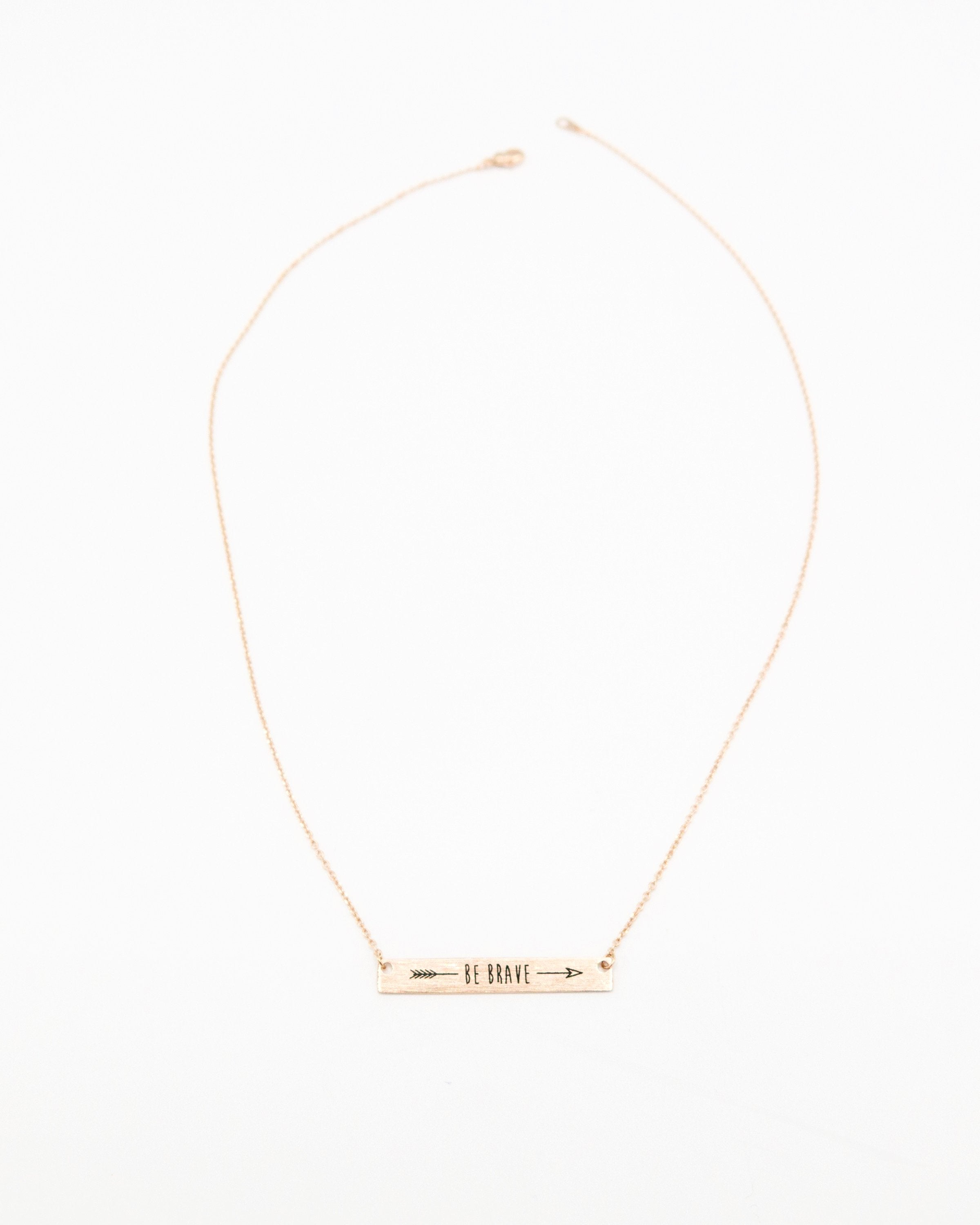 Be Brave Inspirational Bar Necklace in rose gold