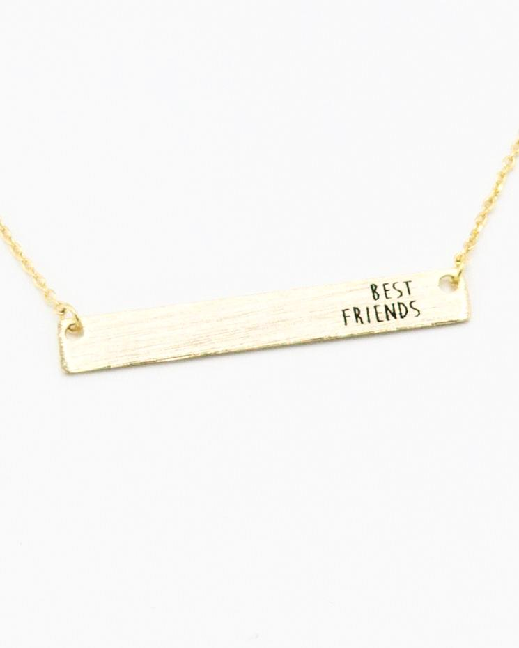 Best Friends Bar Necklace in gold