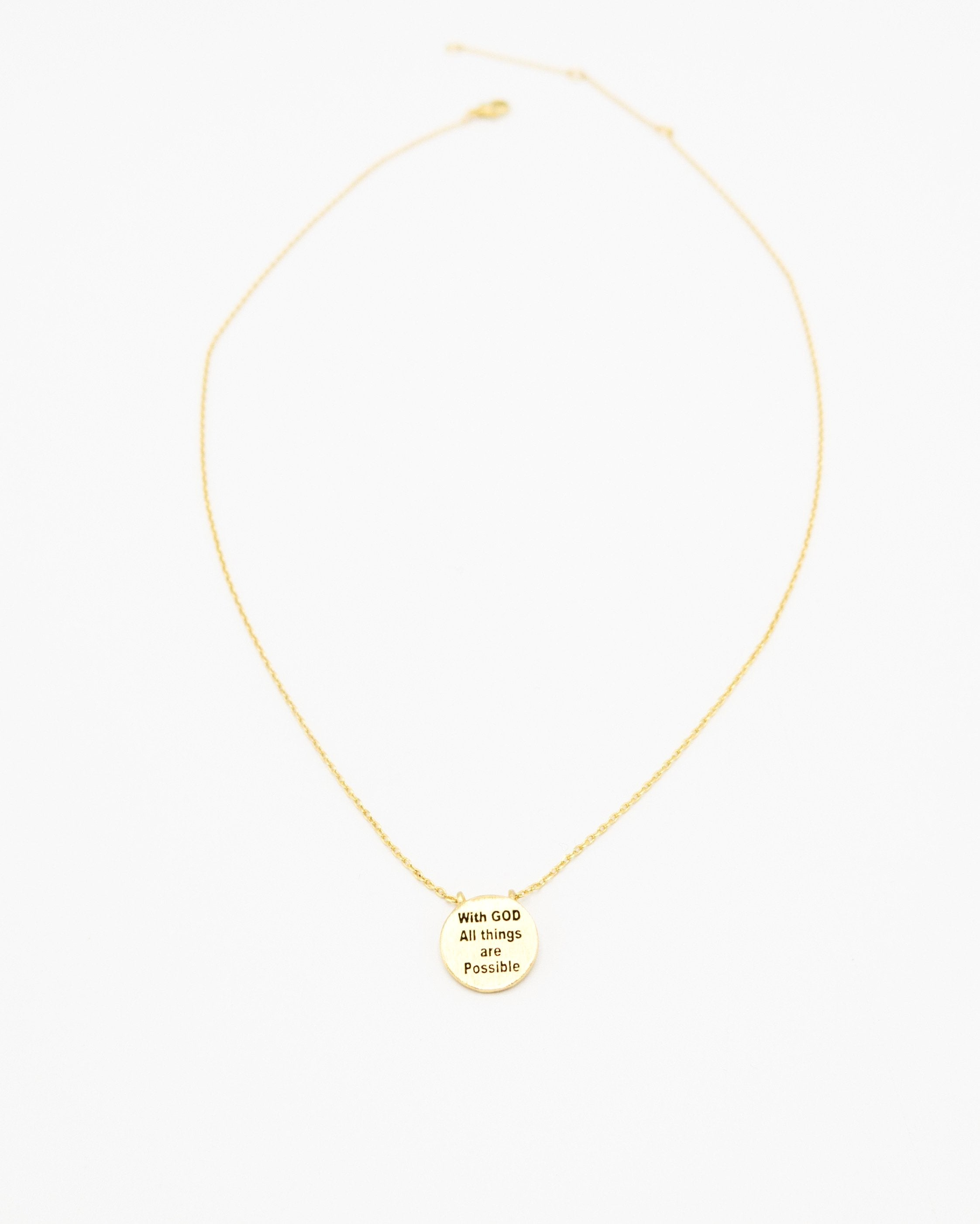 With God All Things Are Possible Inspirational Round Necklace in gold