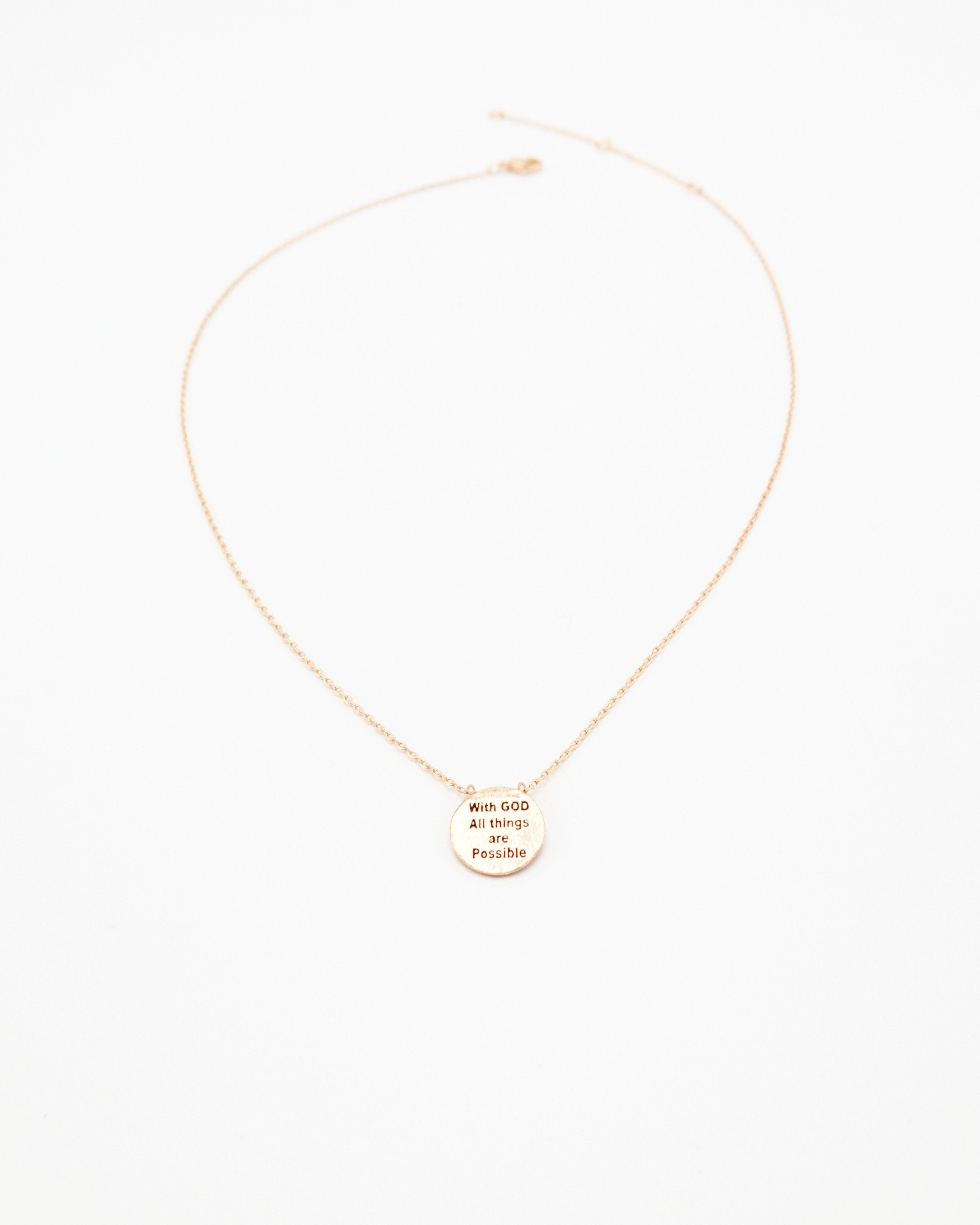 With God All Things Are Possible Inspirational Round Necklace in rose gold