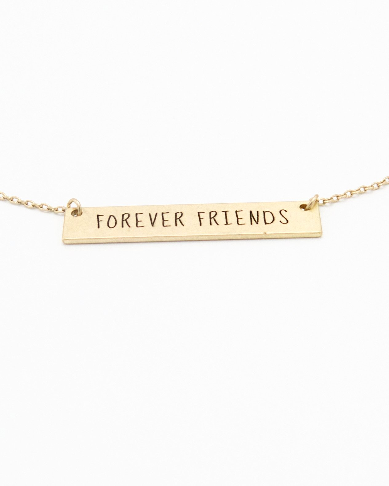 Forever Friends Bar Necklace in gold