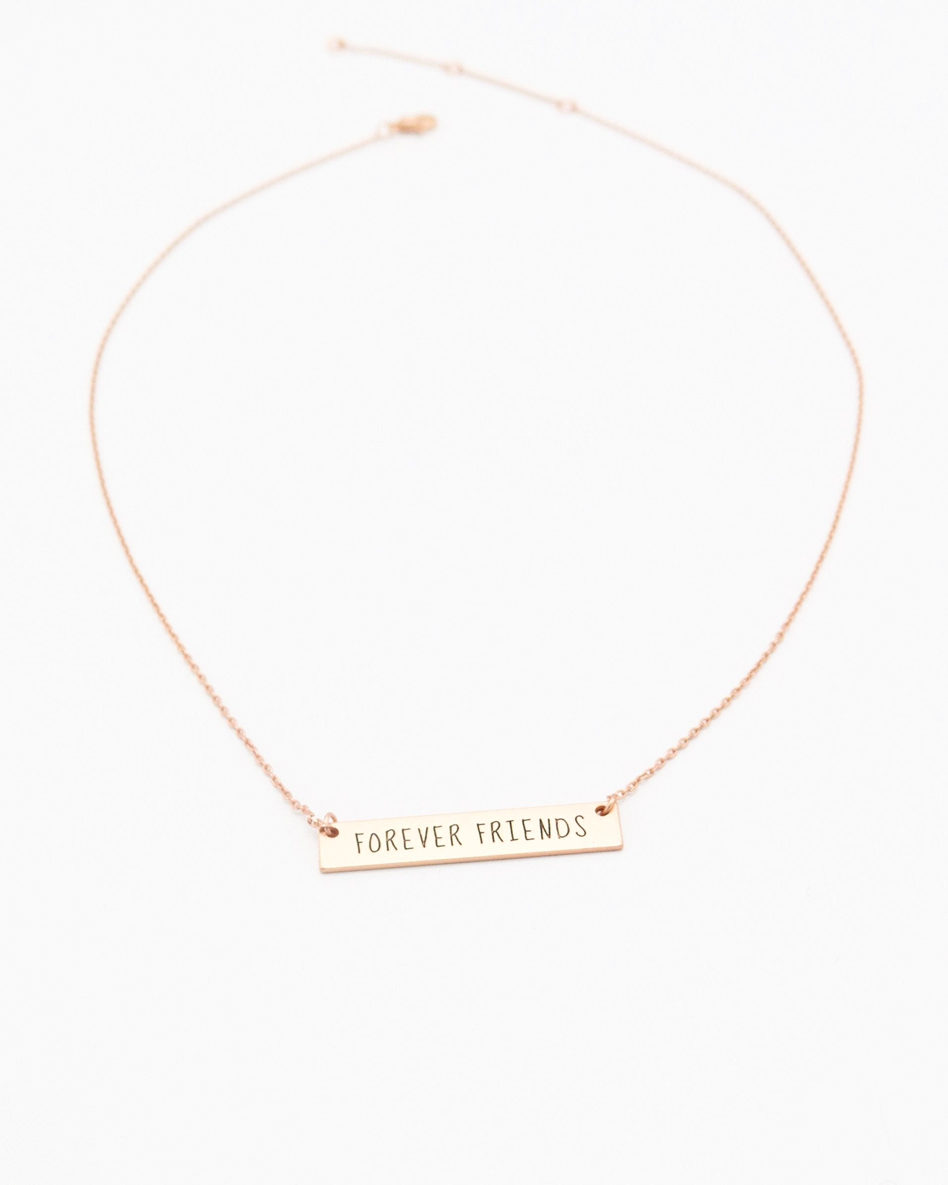 Forever Friends Bar Necklace in rose gold