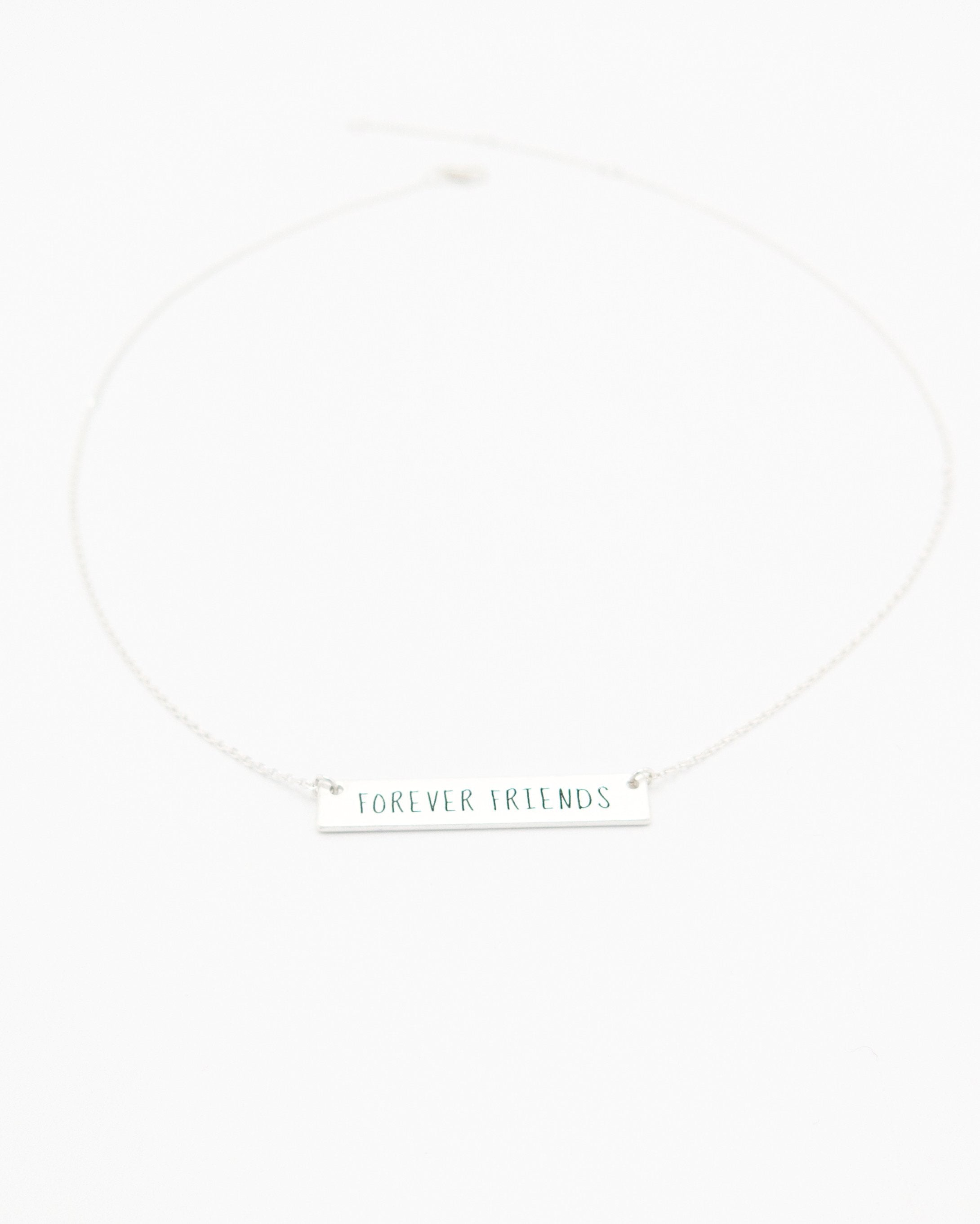 Forever Friends Bar Necklace in silver