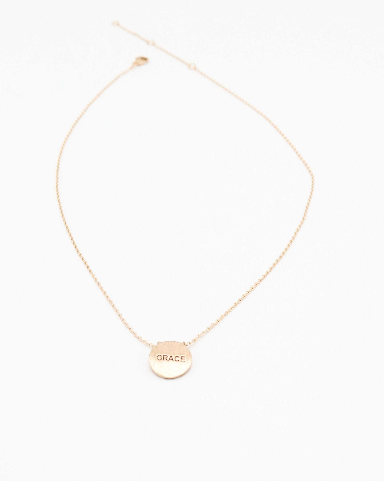 Grace Inspirational Round Necklace in rose gold
