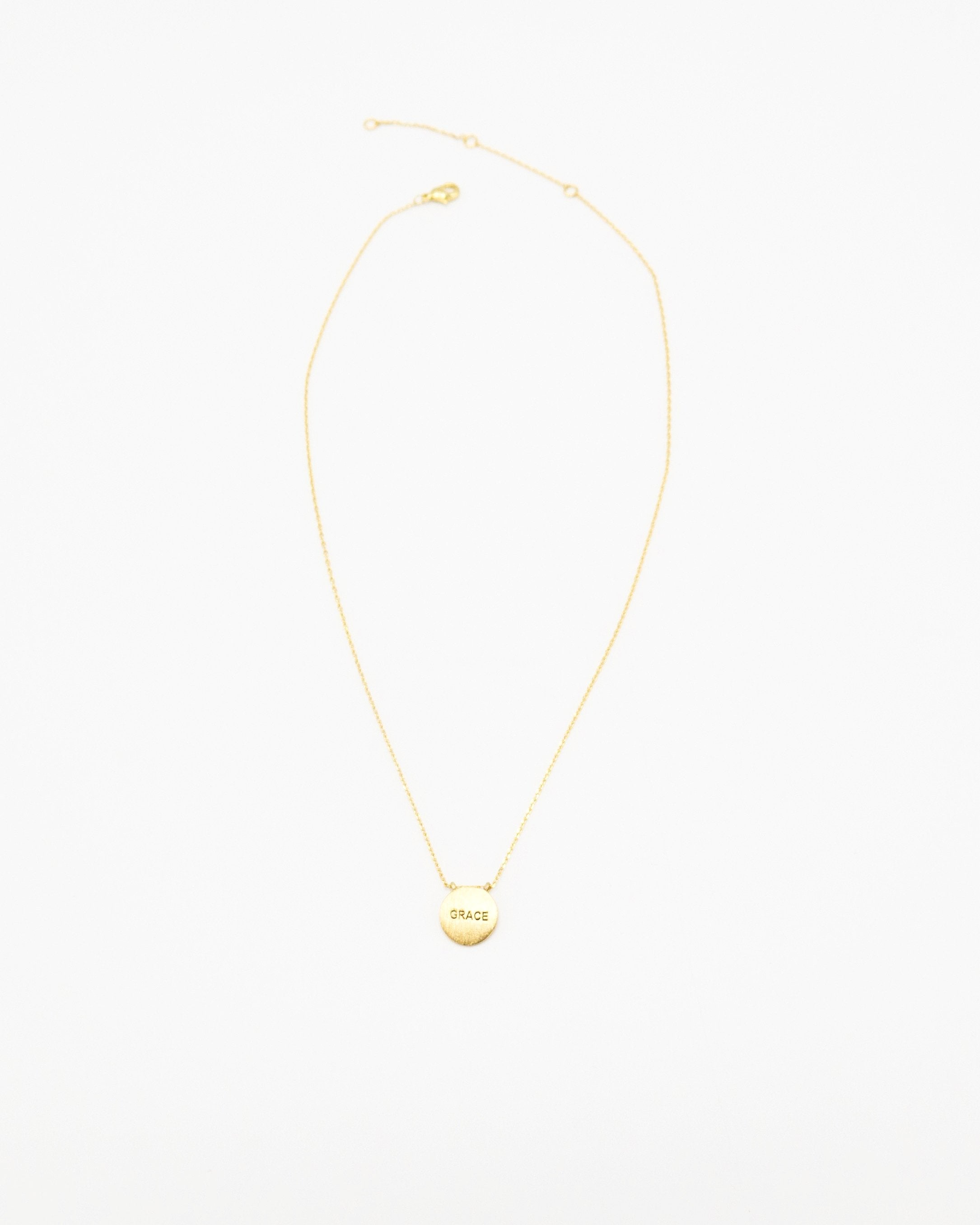 Grace Inspirational Round Necklace in gold