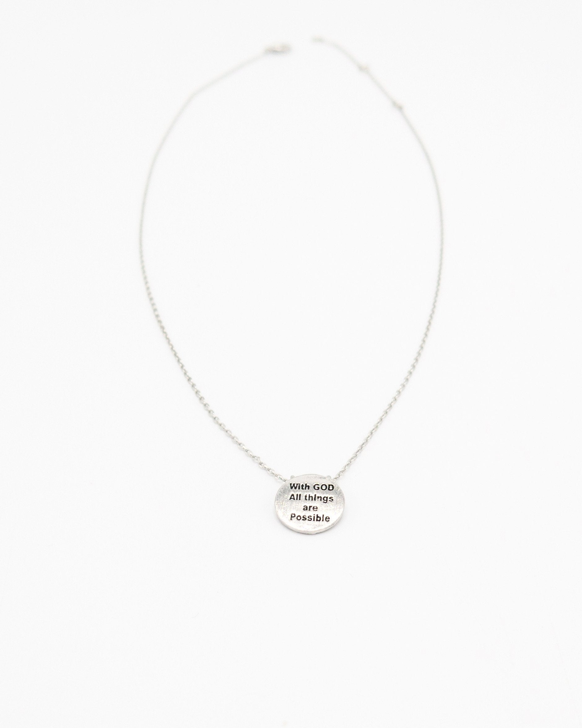 With God All Things Are Possible Inspirational Round Necklace in silver