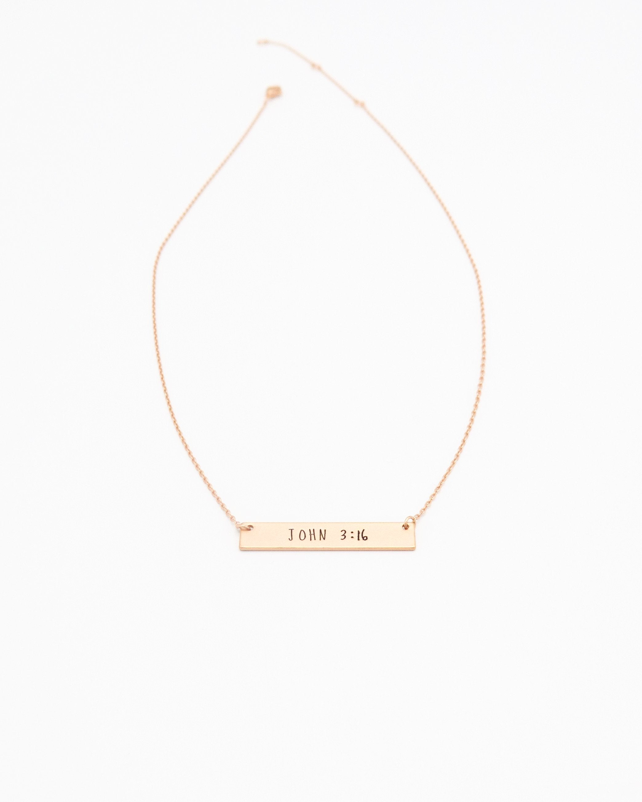John 3:16 Inspirational Bar Necklace in rose gold