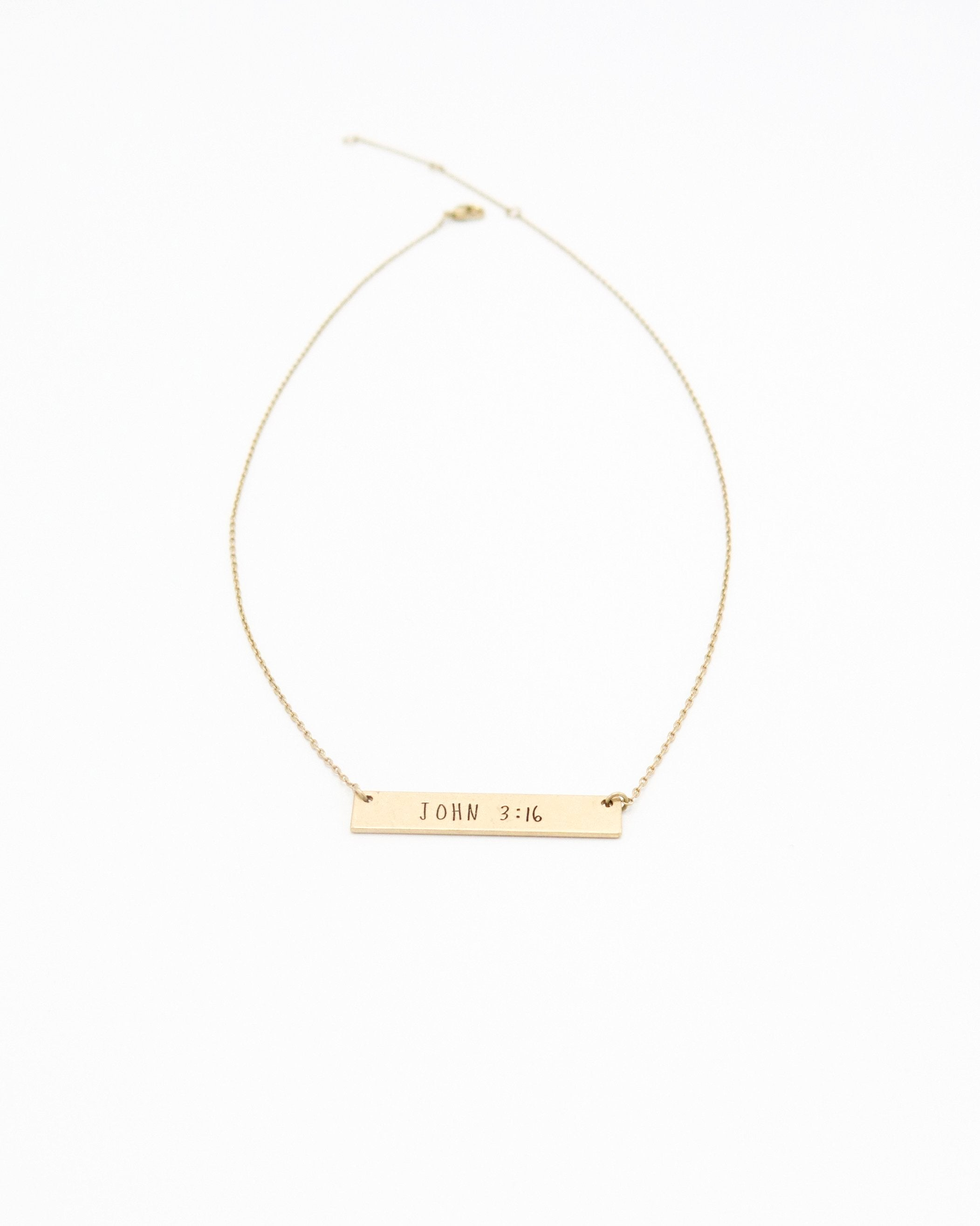 John 3:16 Inspirational Bar Necklace in gold