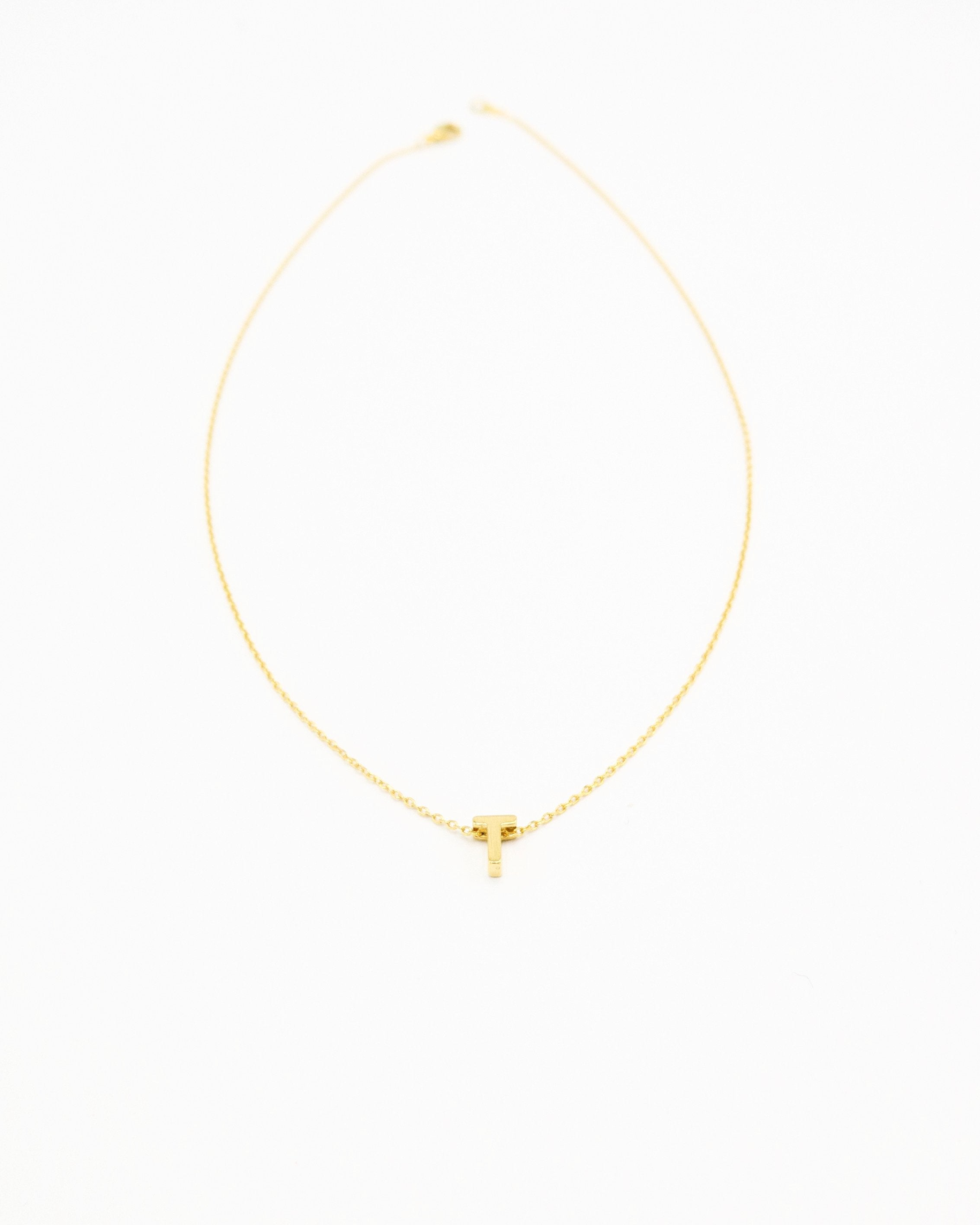 Cut Out Initial Necklace in gold