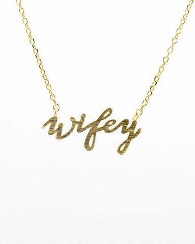 Wifey Word Necklace in gold