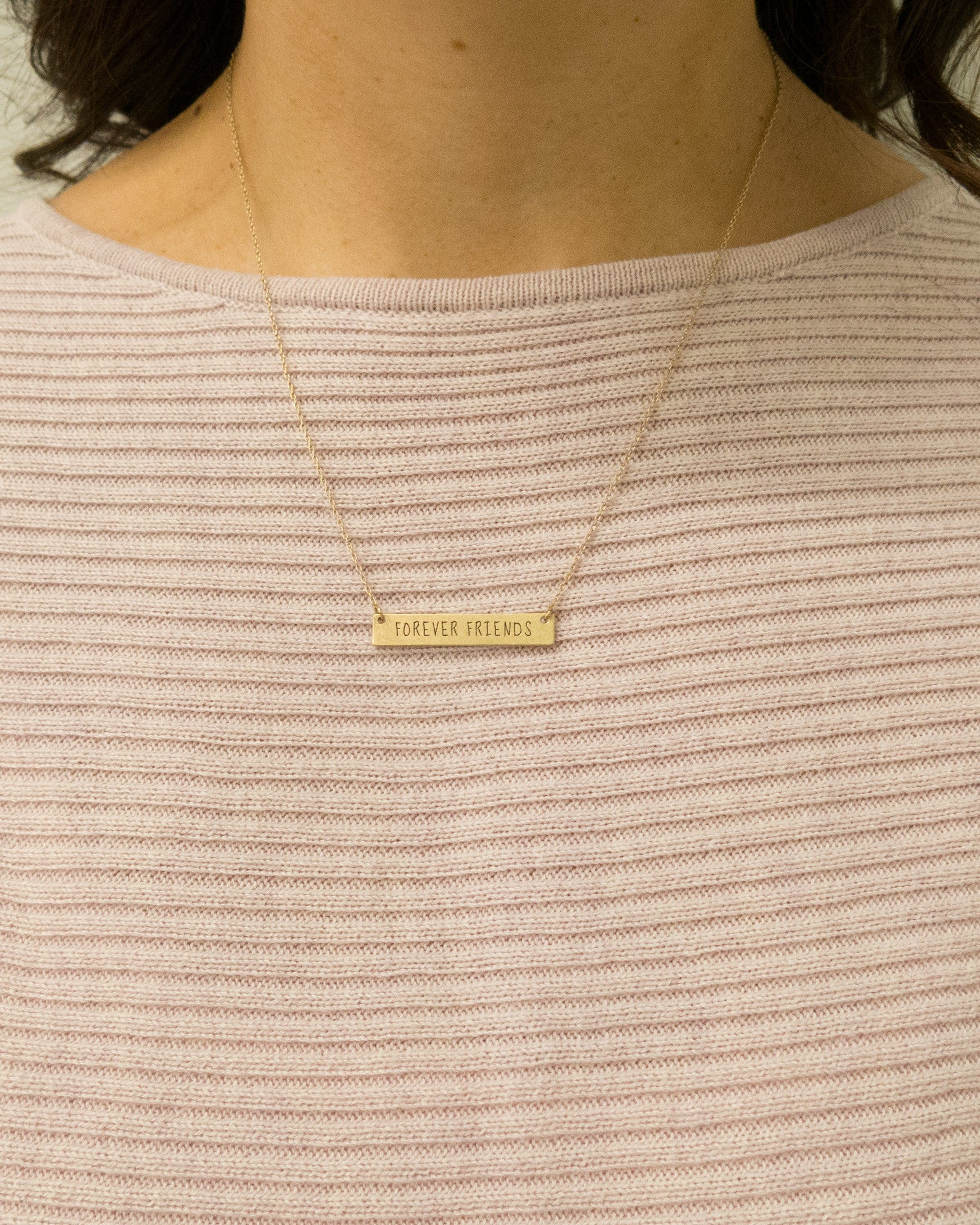 "Forever Friends Bar Necklace 18"" in length"