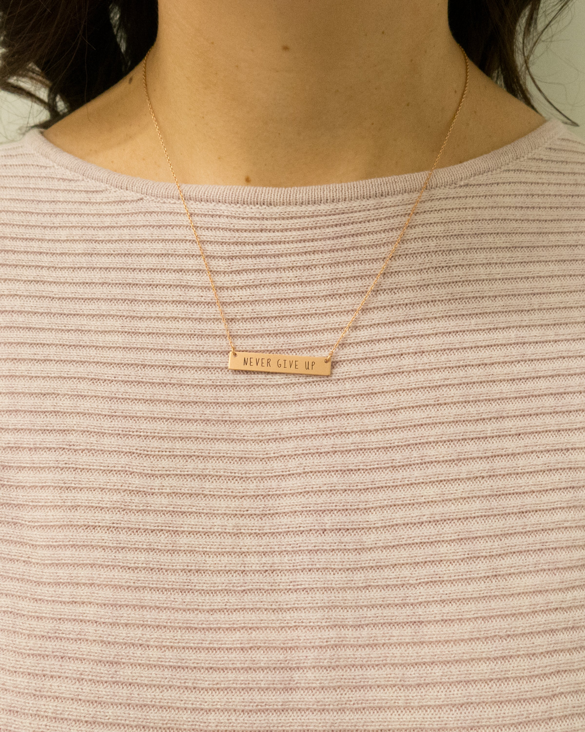 "Never Give Up Inspirational Bar Necklace 18"" in length"