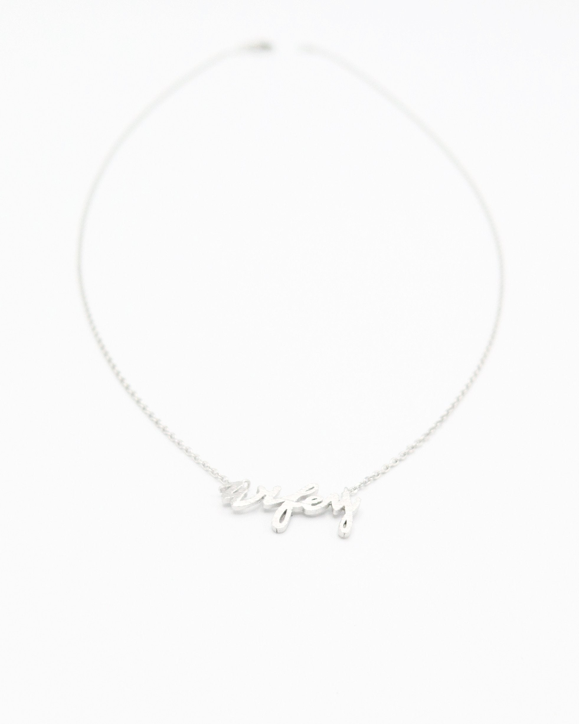 Wifey Word Necklace in silver