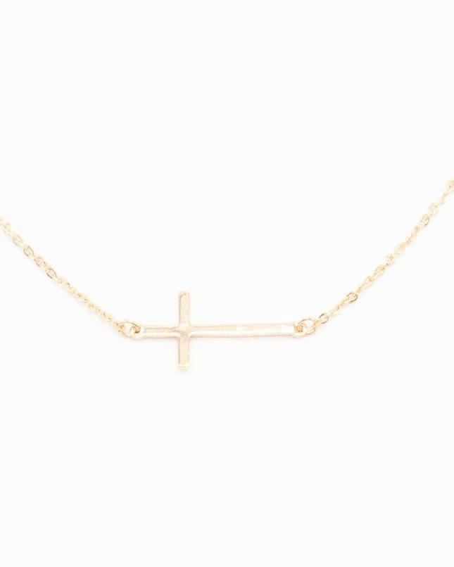 Small Gold Side Ways Cross Necklace