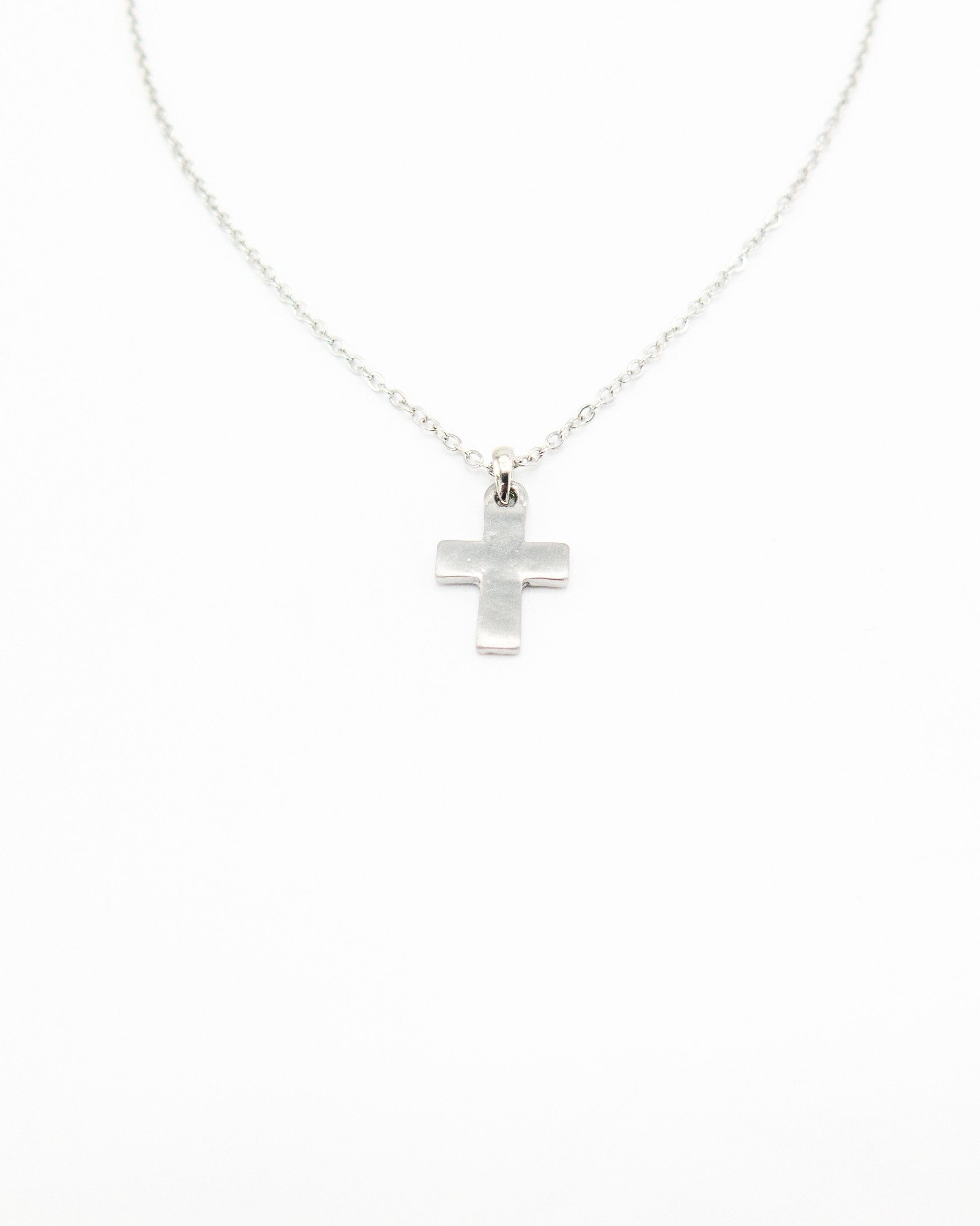 Small Silver Brushed Cross Necklace