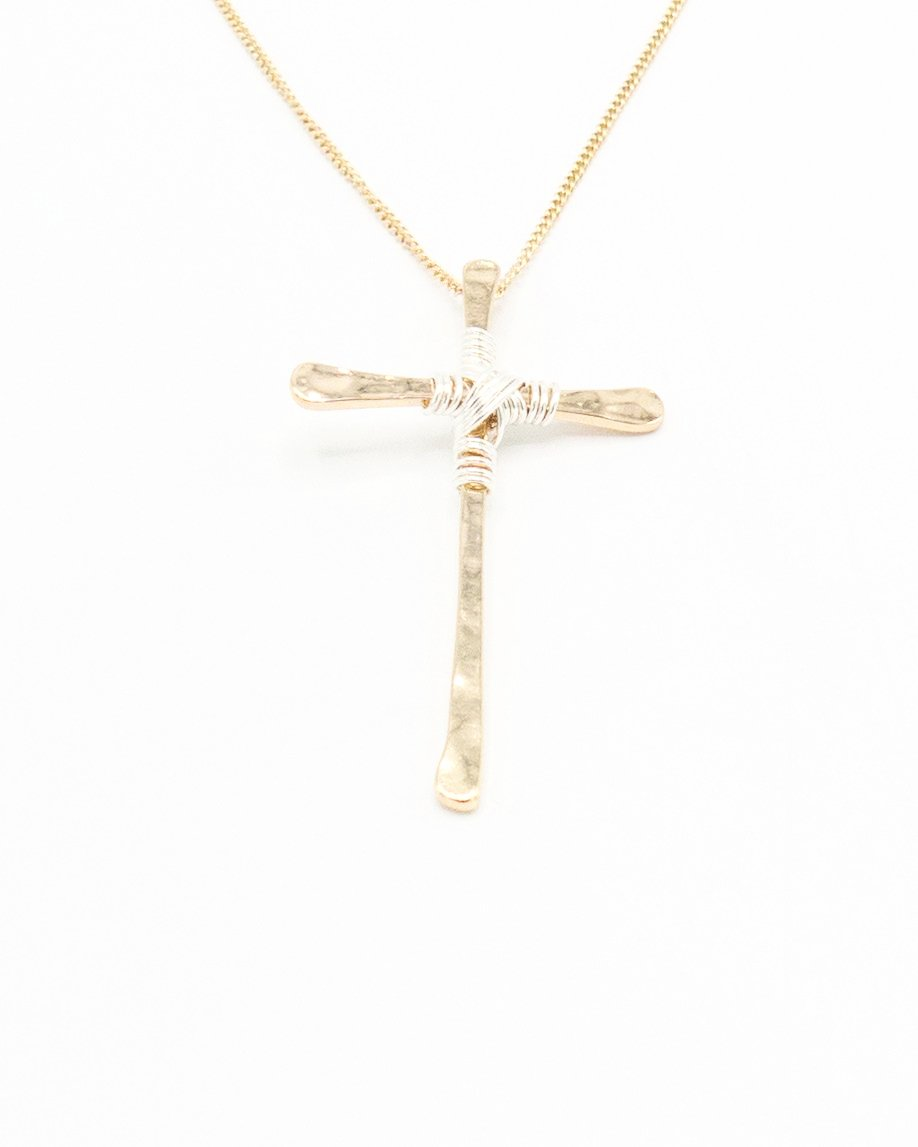 Large Gold Cross Necklace With Silver Wrap