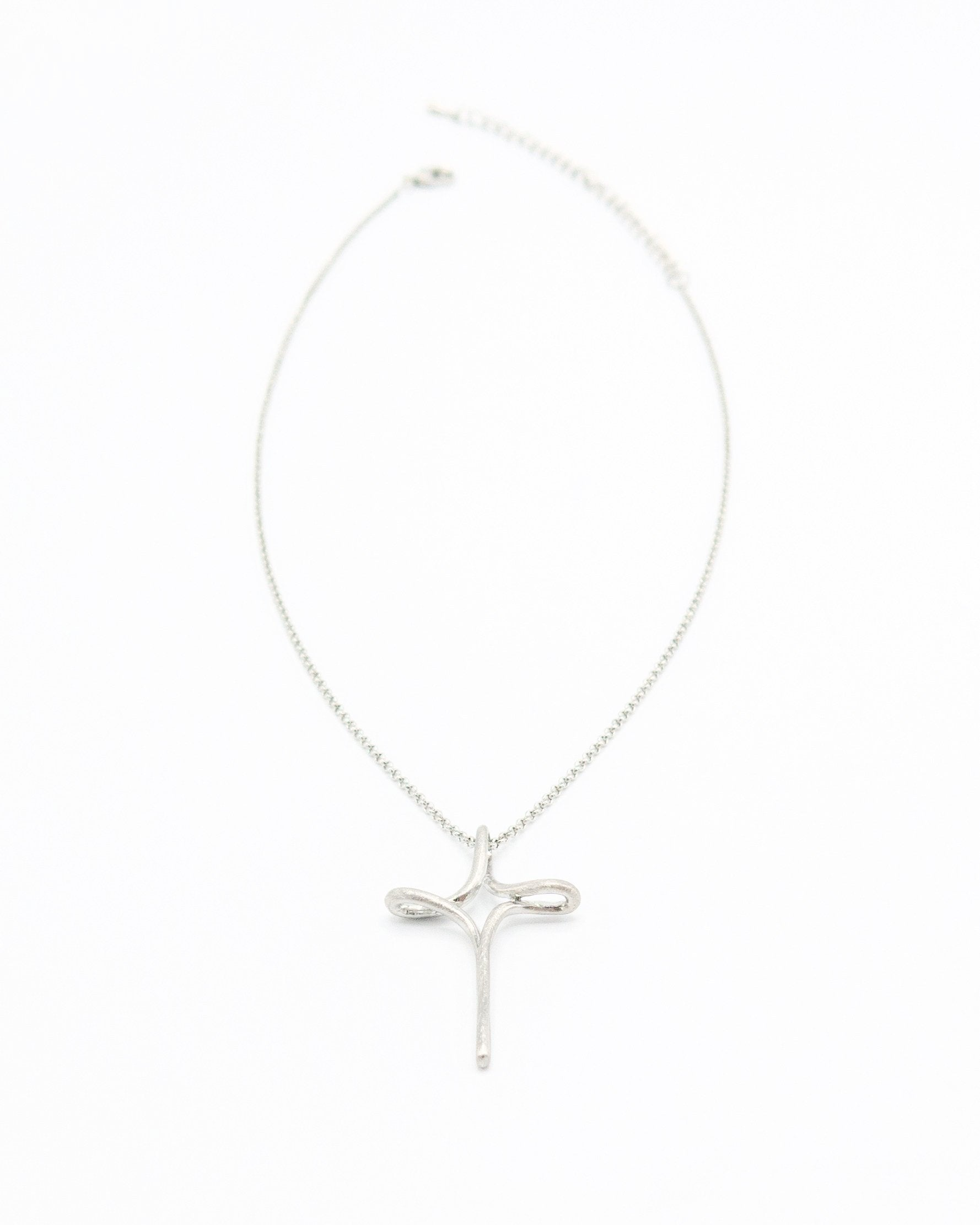Brushed and Shiny Mid Length Silver Cross Necklace