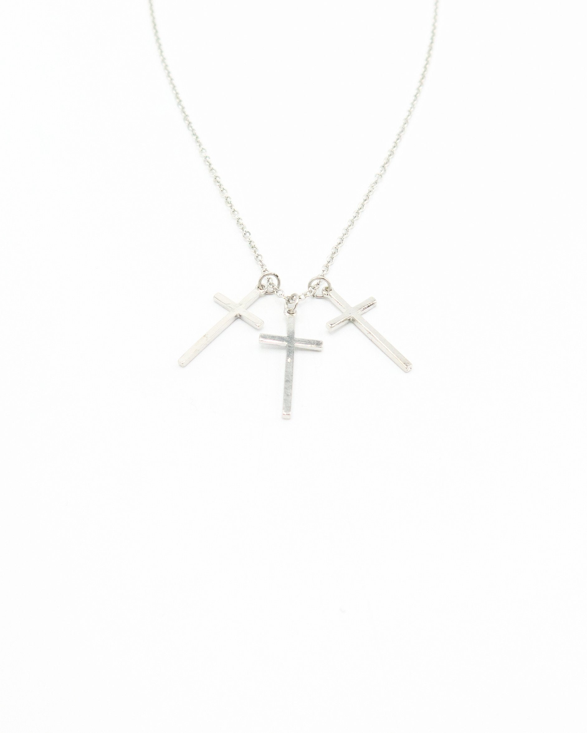 Triple Cross Silver Necklace