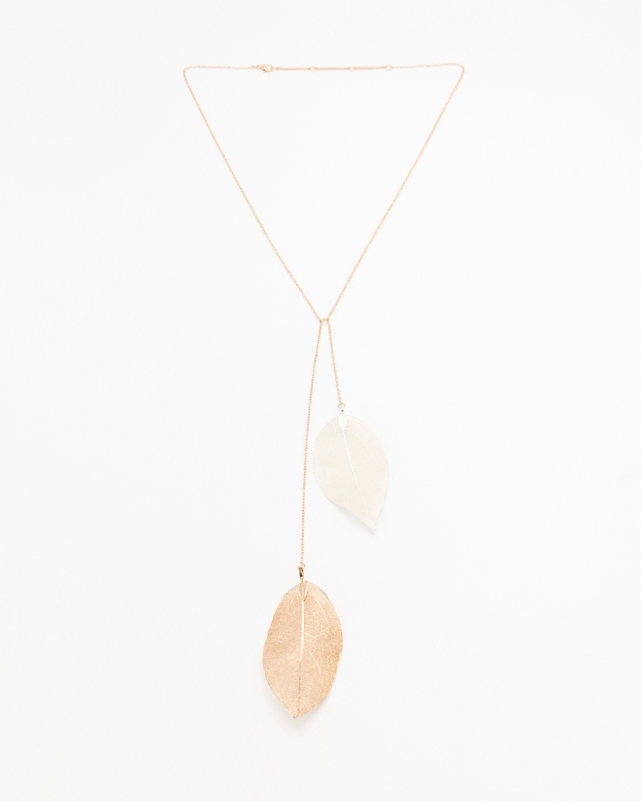 Long Rose Gold Necklace with Large Leaf Pendants