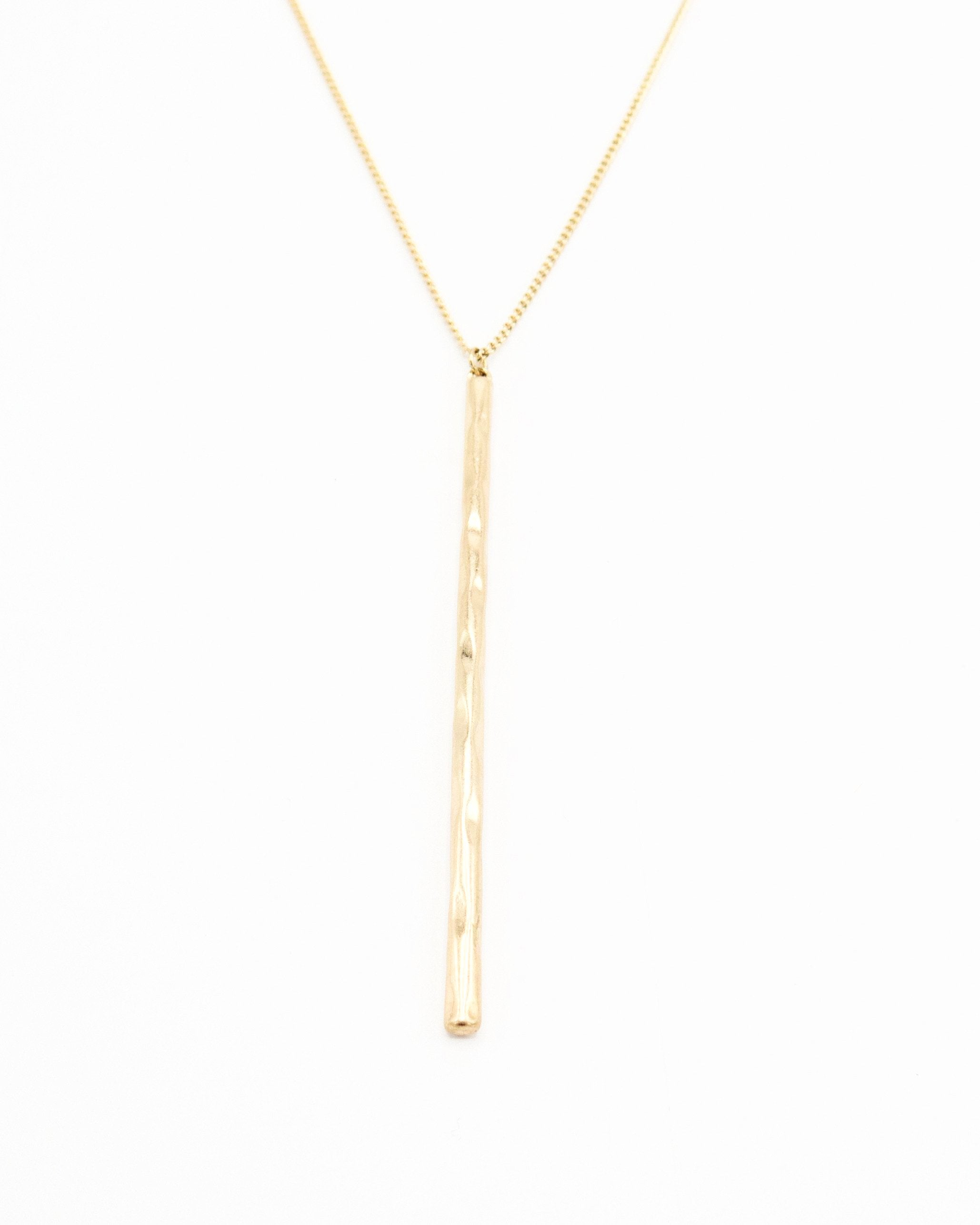 "Gold Necklace with 3"" Rod Pendent"