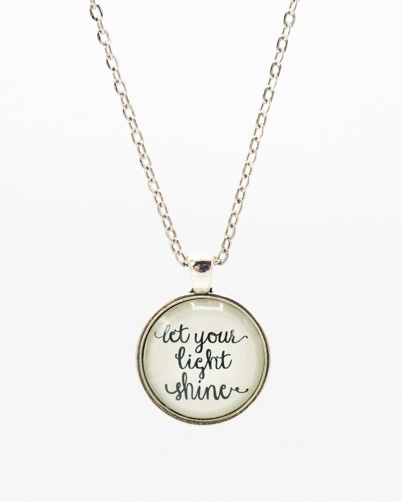 Inspirational Silver Long Pendant Necklace