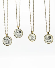 Inspirational Brass Long Pendant Necklace