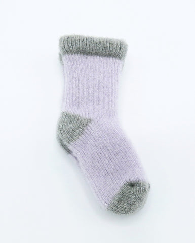 Baby Girl Purple and Grey Cashmere Blend Socks