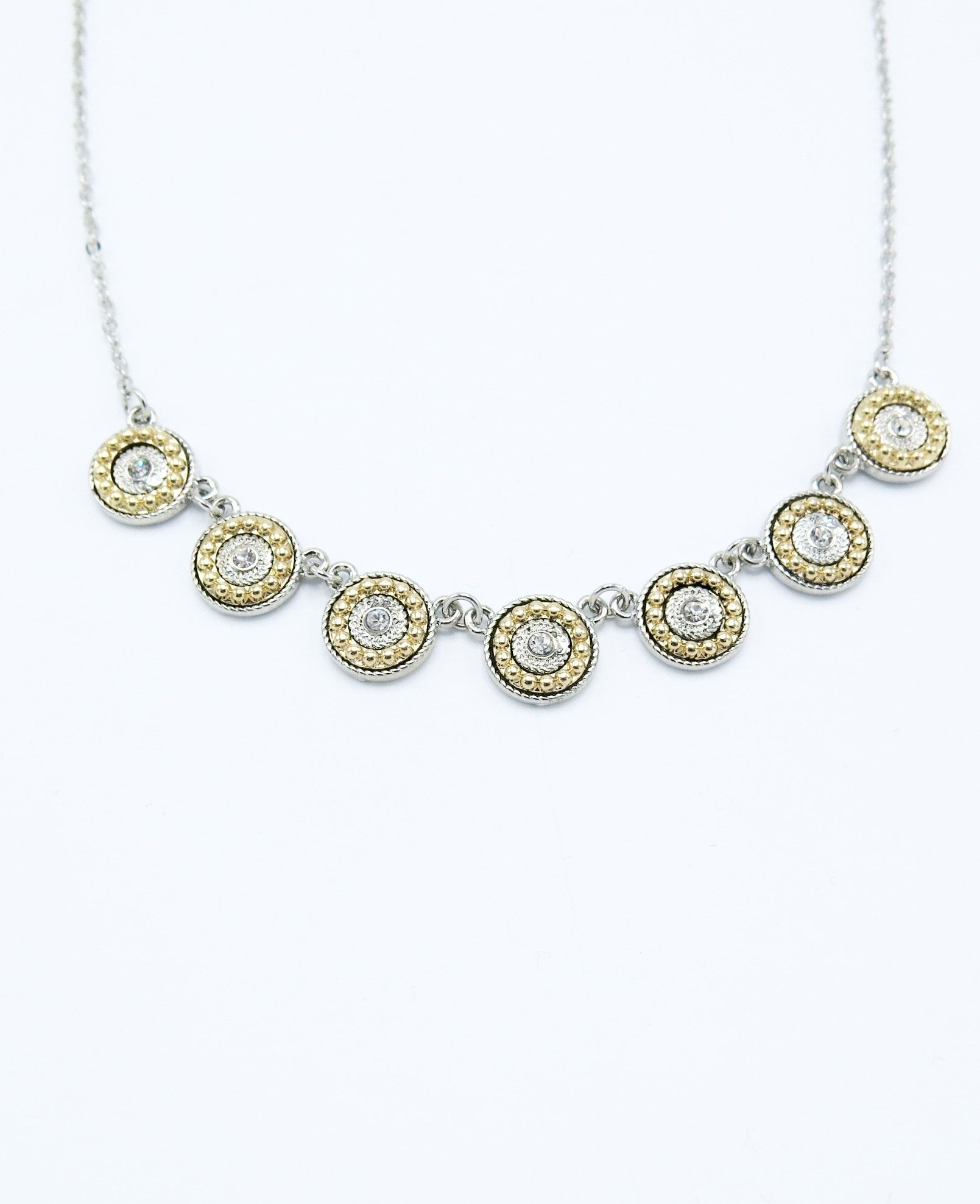 Short Necklace with Gold and Silver Circle Pendants in Silver