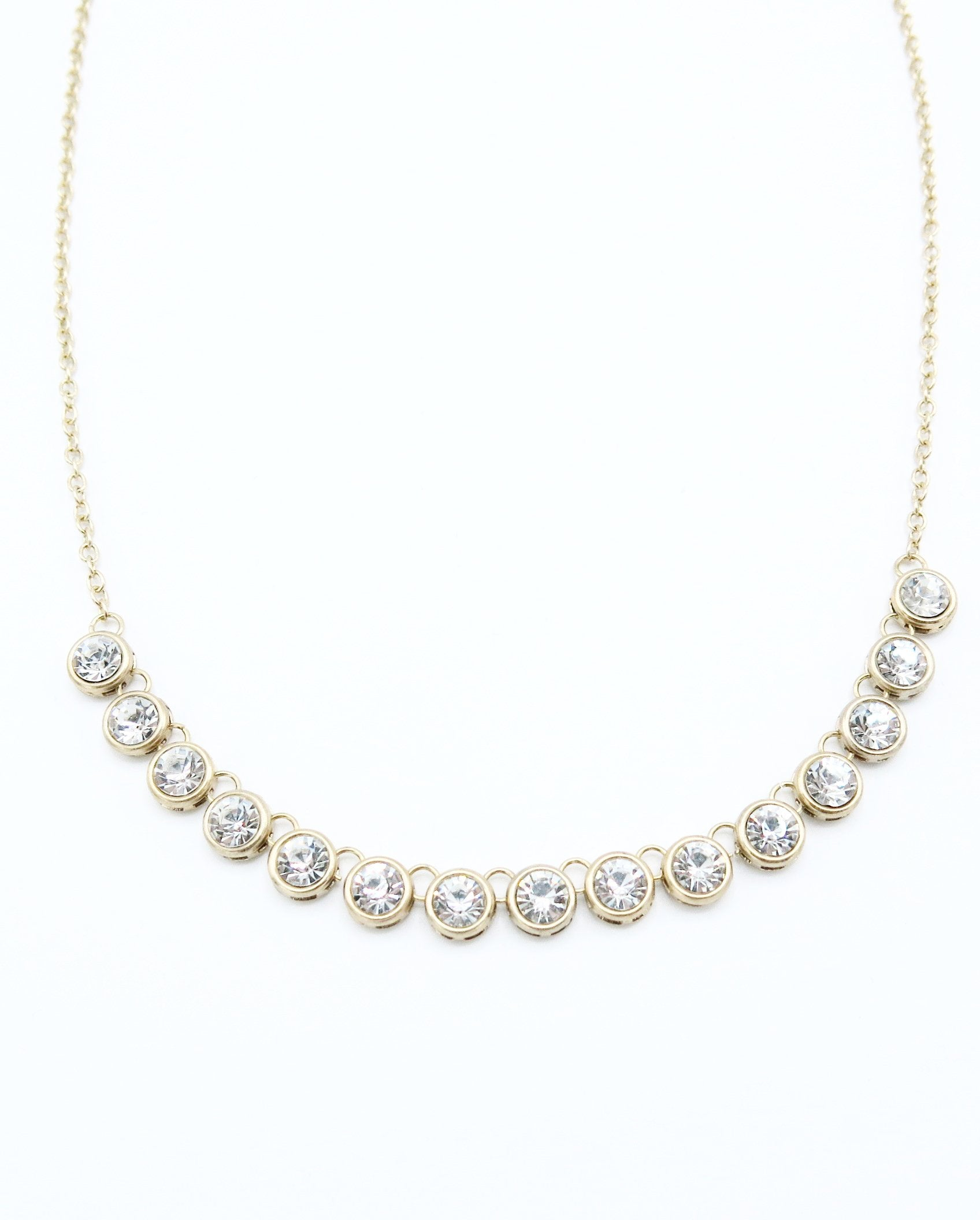 Medium Length Necklace with Crystal Pendants in Gold