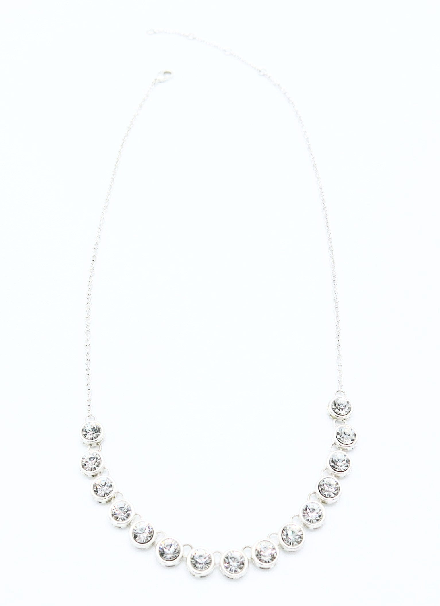 Medium Length Necklace with Crystal Pendants in Silver