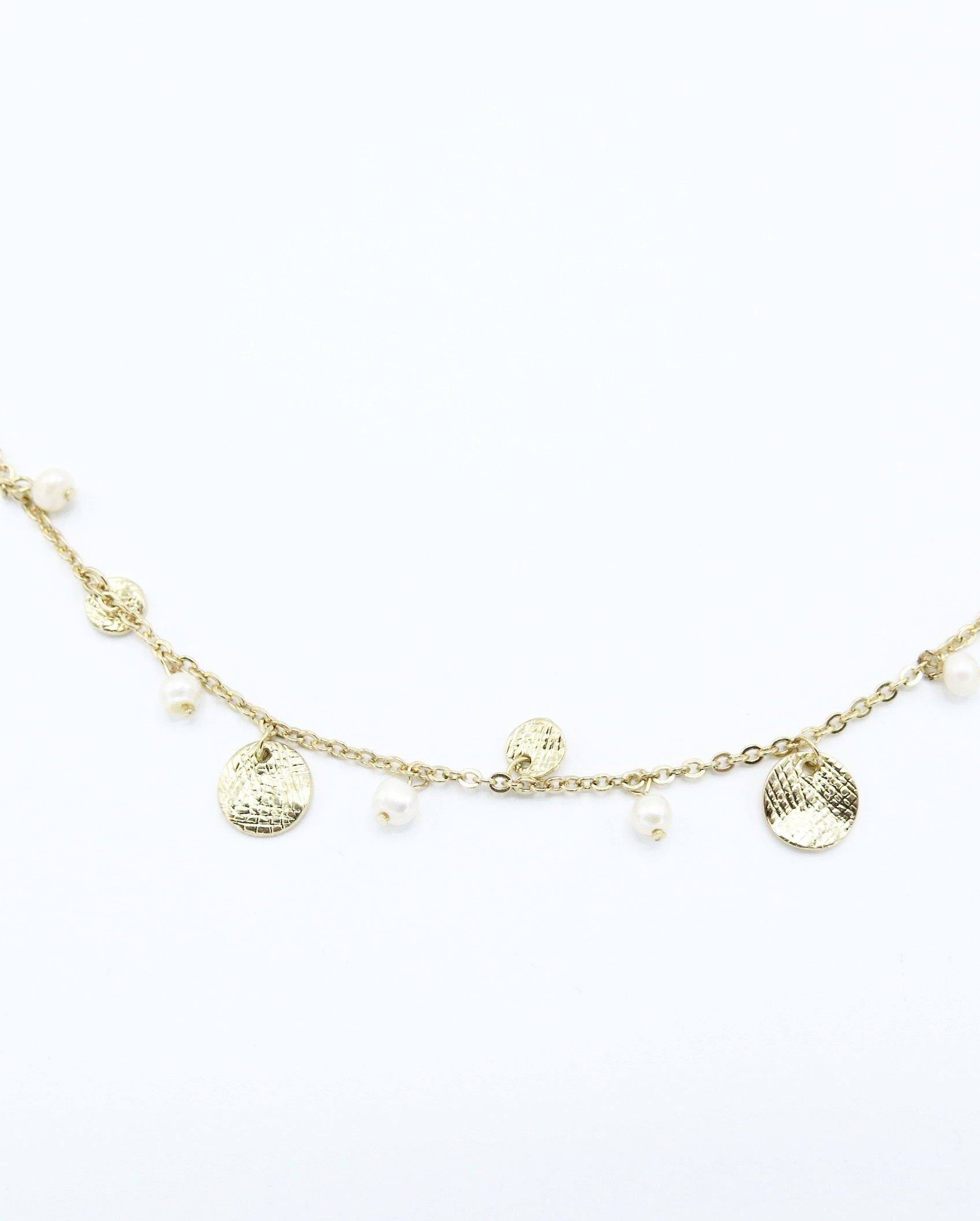 Long Dainty Pearl Necklace in Gold