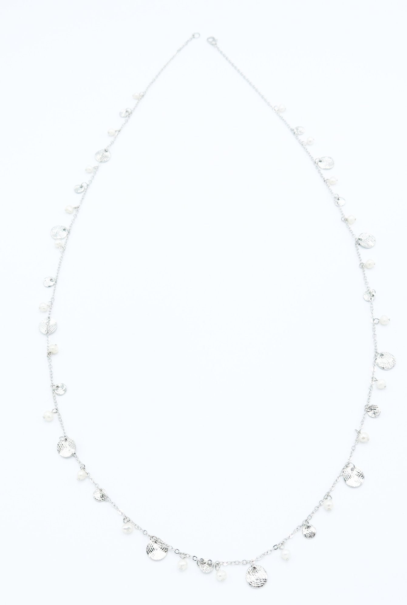 Long Dainty Pearl Necklace in Silver
