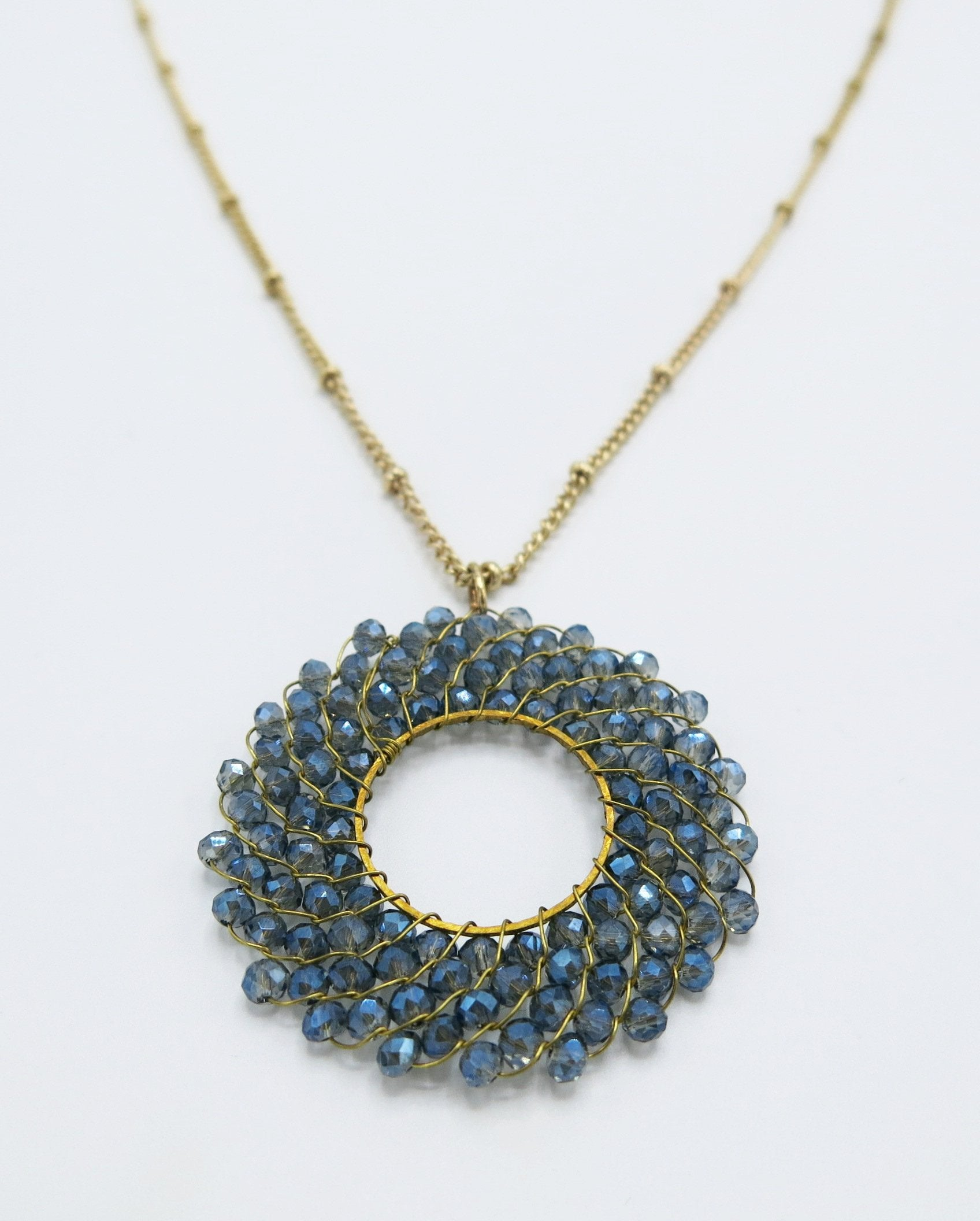 Long Necklace with Round Royal Blue Beaded Detail in Gold