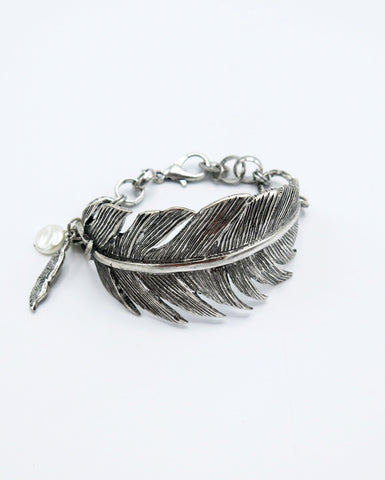 Silver Statement Feather Bracelet