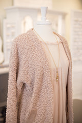 Dusty Pink Soft Knit Open Sweater with pockets