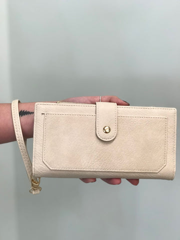 Cream Cora Wallet with Gold Hardware