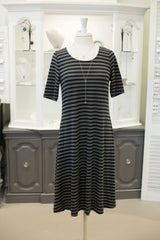 Grey and Black Stripe Dress with Pockets
