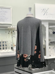 Grey Long Sleeve with Black Floral Bottom