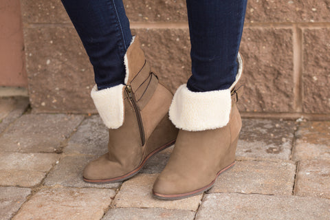 Nicole Brown Fur Lined Wedge Booties. Clearance. Final Sale