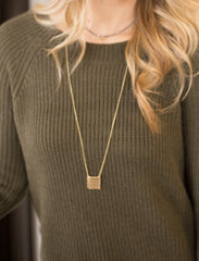 Long Necklace With Hammered Square Pendant in Gold