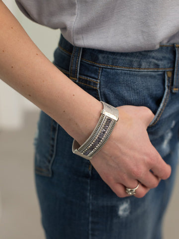 Magnetic Grey Leather Bracelet with inset crystals.