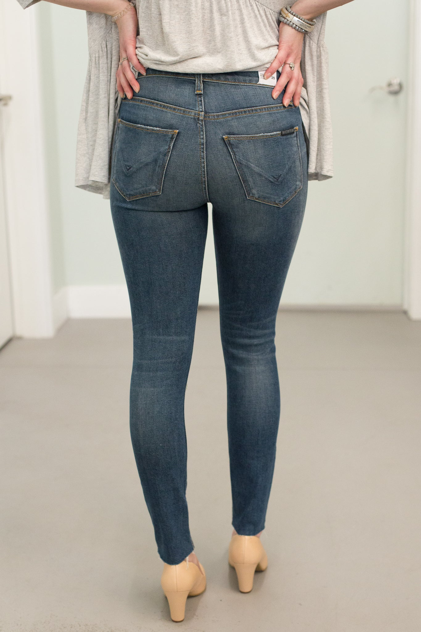 Hudson Highwaisted Barbara Super Skinny Denim with Distressing