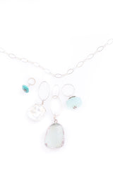 Fiji NH Necklace with Druzy, Keshi Pearl, Peruvian Chalcedony, and Kingman Turquoise Pendants