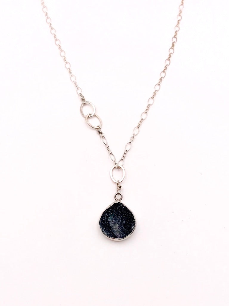 Druzy Pendant nh Necklace in Silver